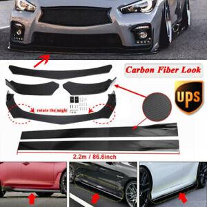 """Carbon Fiber Front Bumper Lip Spoiler Splitter+86.6"""" Side Skirt Kit For Infiniti"""