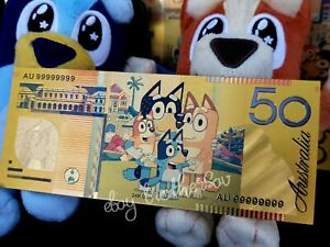 Bluey - 50 Dollar Bucks Money - Metallic textured Toy Banknote *FREE* Postage*