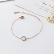 NEW Womens 18K Rose Gold Plated RGP Round Natural Mother of Pearl Bracelets