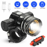 IP65 Bike Front Rear LED Light Set USB Rechargeable Bicycle Headlight Taillight