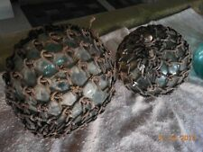 Antique Japanese glass fishing balls, 4 very old, 100 years ? All original.