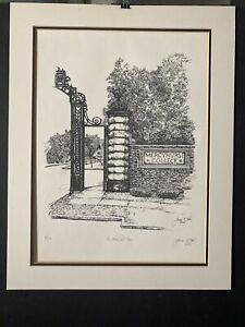 James E Sabol Drawing Signed Numbered Print Mercyhurst College Gates Tower Erie