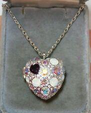 Swarovski Crystal Aurora Borealis Pink Heart Locket Pendant Chain Necklace 5c 33