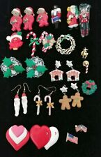 Vintage Holiday Pins Brooch Earrings Christmas some handmade Crafts Lot of 23