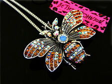 Betsey Johnson Fashion Crystal Cute 3D bees Pendant Necklace Sweater Chain