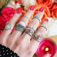 14Pcs/Set Bohemian Sliver Plated Knuckle Ring Turquoise Gem Midi Ring Jewelry DR