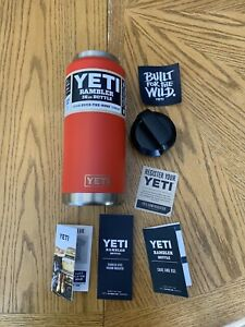 YETI Rambler 36 oz Bottle Canyon Red, RETIRED 2017 Color, Brand New Standard Lid