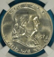 1957-D Franklin Half Dollar NGC MS65FBL- Sharp, Mostly White Gem