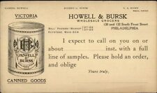 Illustrated Pioneer Postal Card Howell & Bursk Grocers Philadelphia Can Goods