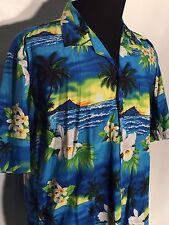 Favant Designed in Hawaii Mens XL Blue Ocean Waves Island Floral Hawaiian Shirt