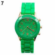 Ladies Fashion Rose Gold Quartz Green Faced Green Silicone Band Wrist Watch.