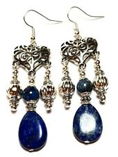 Silver Lapis Lazuli Chandelier Earrings Antique Vintage Style Heart Pierced