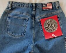 POLO Jeans Co RALPH LAUREN Vtg Womens 12 X 34* Cotton Hi Rise Mom Jeans FLAG NOS
