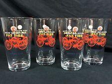 4 Fat Tire Ale New Belgium Brewing Pint Glasses 16oz New! Bar Pub Man Cave