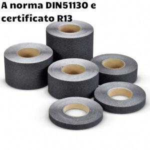 Nastro adesivo antiscivolo nero per interni/esterni certificato DIN 51130 e R13