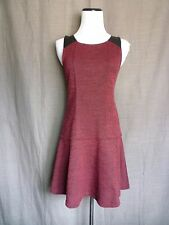 NWT- Sanctuary Red & Black Tweed Boucle Dress w/ Faux Leather Detail- XS