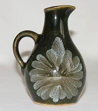 "Vtg 60s-70s Lotus Pottery Devon green jug bud vase 4½"" Skipwith abstract floral"