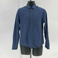 UNTUCKit Mens flannel button up shirt slim fit long sleeve sz S Small blue plaid