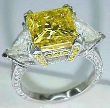 6ct Cocktail Party Ring inspired 925 Sterling Silver Yellow Princess Triangle Cz