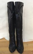 Modern Vintage Lolita Womens Tall Black Leather Boots Size 39 (US 8.5)