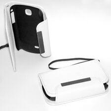 custodia in eco PELLE BIANCA FLIP CASE x SAMSUNG S5570 GALAXY NEXT S5570i TURBO