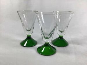 """Set of 3 Antique Small Wine Glass Green Stemmed Wine Glasses Drinkware 3 1/8"""""""