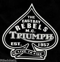 RETRO USA 'EAST BAY REBELS' BIKERS CLUB VINYL DECAL / STICKER EST 1957 TRIUMPH