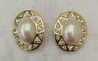 Vintage Christian Dior Swarovski Crystal Faux Pearl Statement Clip on Earrings