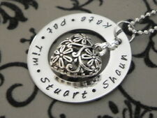 Personalised Stamped 32mm S/Steel Family/ Any Wording Filigree Heart Pendant