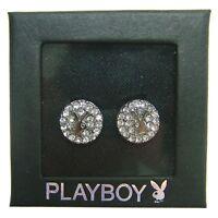 Playboy Earrings Stud Swarovski Crystal Jewelry Silver Plated Round Bunny Logo