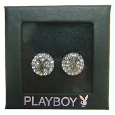 NEW Playboy Earrings Bunny Logo Stud Swarovski Crystal Silver Plated Jewelry Box