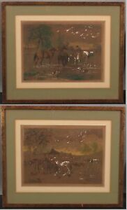 Antique JOHN F HERRING English Country Farm Barnyard Horses Watercolor Paintings
