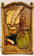 Vintage*SYROCO*Colonial*Bible*Quill*Crock* Plaque*Picture*Wall Hanging* 20011T