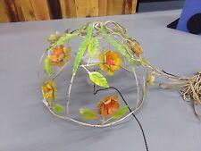 Vintage Metal Floral Shabby Chic Chandelier Orange, Yellow, Green Enamel