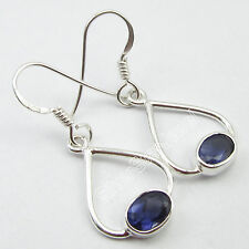 Made Latest Earrings 3.4 Cm Art 925 Solid Silver Exclusive Iolite Gemset Well