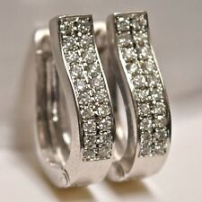 12k White Gold Pavé Set Diamond Huggie Earrings 0.40 tcw w/ Locking Clasp