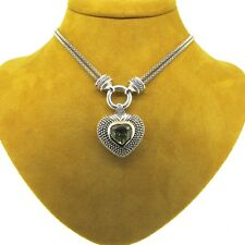 14k Yellow Gold Heart Peridot .925 Serling Silver Chain Necklace 18''