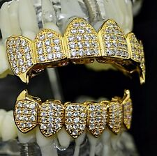 18k Gold Plated Fang Grillz Set CZ Fangs Iced-Out Micro Pave Bling Vampire Teeth