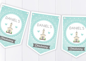 Christening Bunting, Banner - Personalised - Boy - Baptism, First Communion,