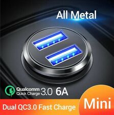 Dual USB Car Charger QC 3.0 All Metal Fast Charging 36W 6A Adapter Mobile Phones
