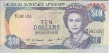 Bermuda Banknote P42c  10 Dollars 1997, QE II, VF