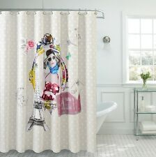 Fancy Fabric shower curtain Moda De Paris Made With 100% Polyester.