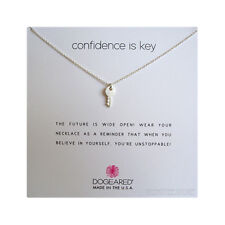 "Dogeared Sterling Silver Cute Key Charm Confidence is Key 16""+2"" Necklace Boxed"
