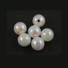 Lot of 300 Plastic Acrylic 6mm Round White AB Beads with Iridescent Finish