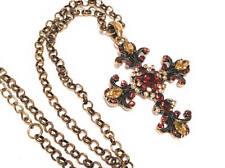 Cross Vintage Rhinestone Filigree Jewelry Pendant Necklace