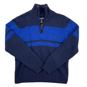 CHAPS Boy's Blue Mock Neck Sweater Size S (8) 1/4 Zip Neck 100% Cotton