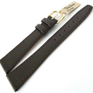 19mm DARLENA 1201 CLASSIC TAPERED, STITCHED CALF LEATHER WATCH STRAP BROWN, GOLD