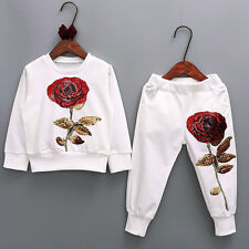 2PCS Mother & Daughter Sequin Rose Blouse Tops+Pants Set Clothes Sport Outfits
