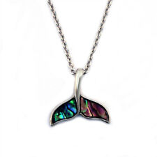 "Whale Tail Charm Pendant Fashionable Necklace - Abalone Paua Shell - 18"" Chain"
