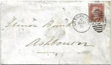 GB QV 1879 BANK COVER PENNY RED PL192 'FG' FROM UTTOEXTER TO ASHBOURNE PMK! 827